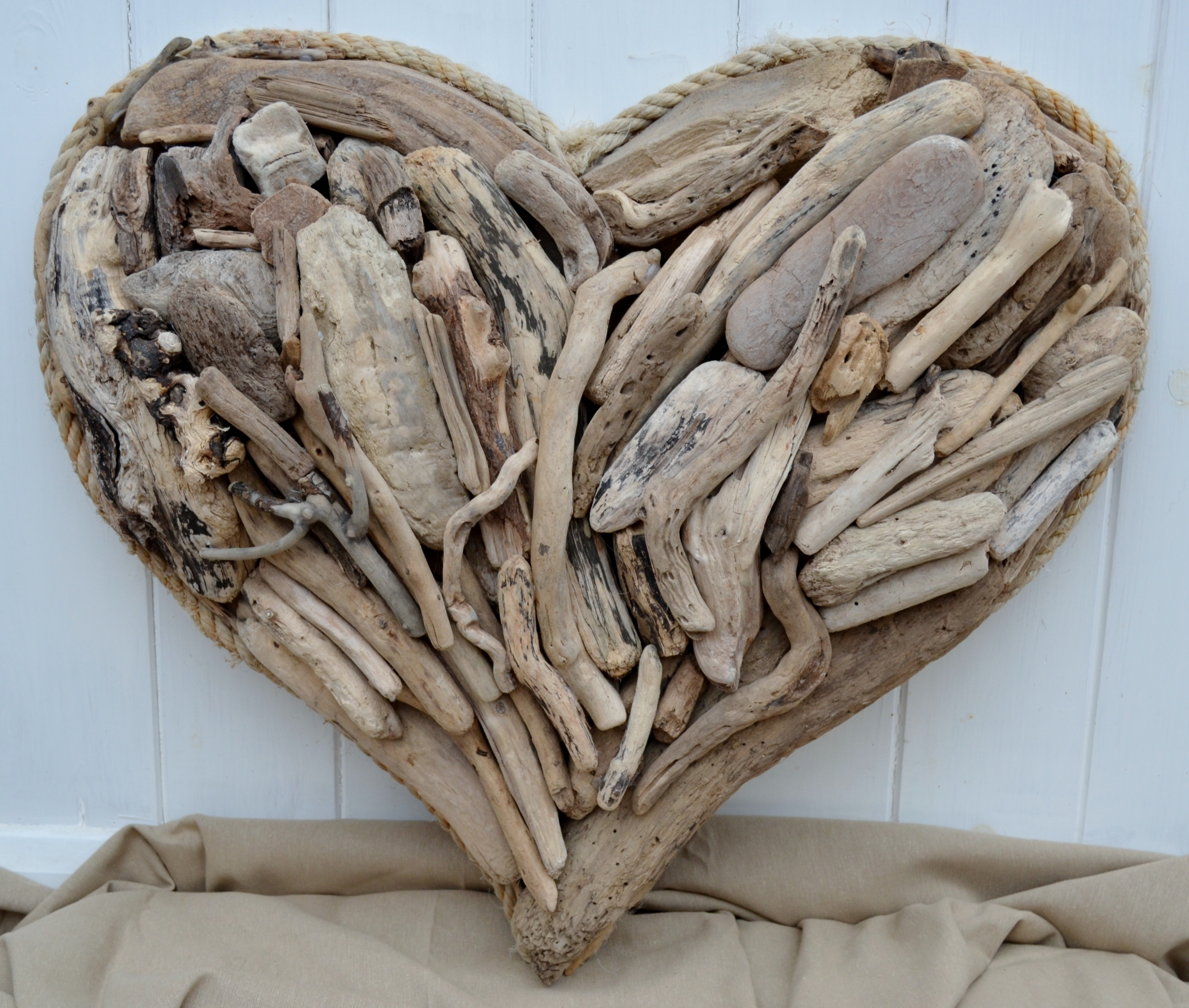 large rope edged driftwood heart